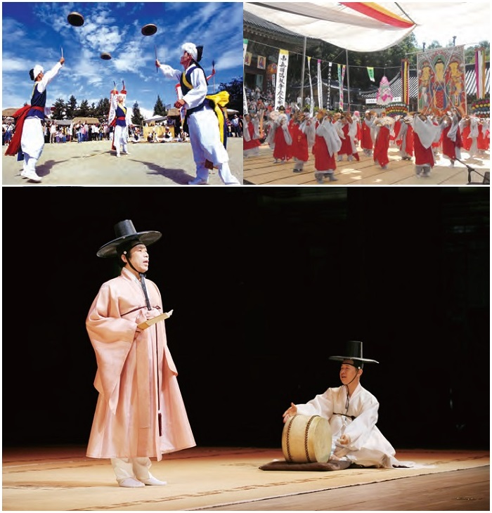 <B>1. Falconry</b> It was once a serious activity conducted to gain food but now an outdoor sport seeking a unity with nature. <B>2. Namsadang Nori</b> Performance presented by a traveling troupe of about 40 performers led by a percussionist called Kkokdusoe. <B>3. Yeongsanjae</b> A Buddhist memorial ritual performed on the 49th day after one's death to guide the spirit to the pure land of bliss. <B>4. Pansori</b> Performance of a solo artist assisted by a drummer where singing is combined with dramatic narratives and gestures to present a long, epic story (National Center for Korean Traditional Performing Arts).